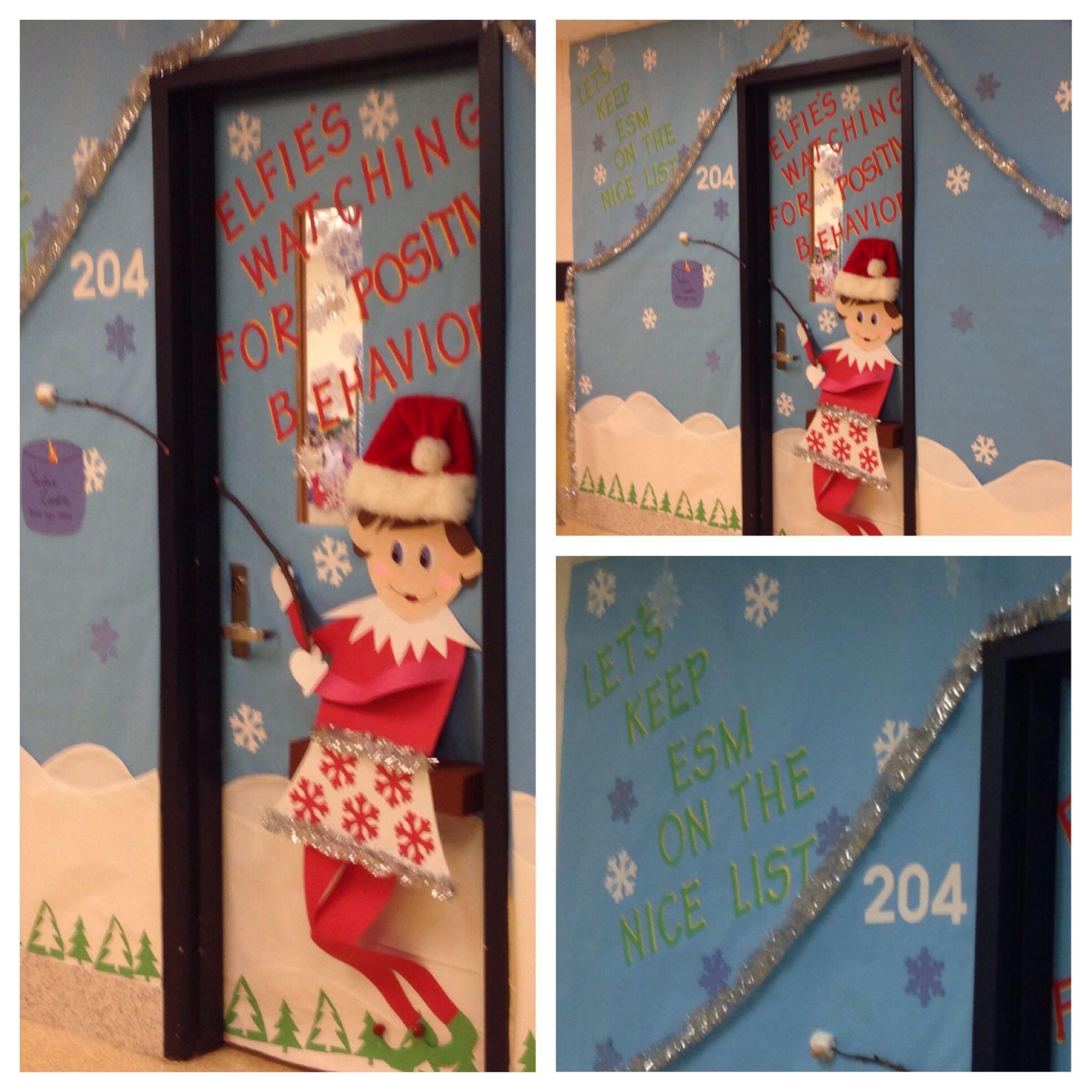 Holiday Elf On The Shelf Classroom Door Classroom Christmas