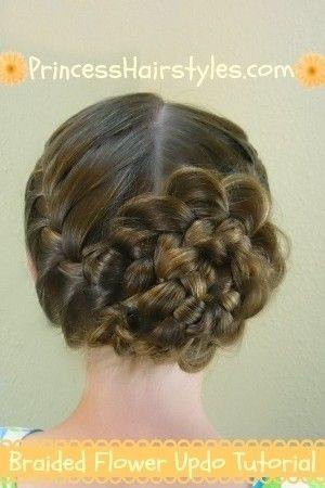 Braided Flower Updo #firstdayofschoolhairstyles