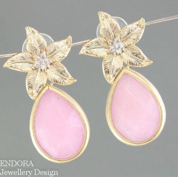 Last Pair Pink Jade Earrings And Gold Endorajewellery