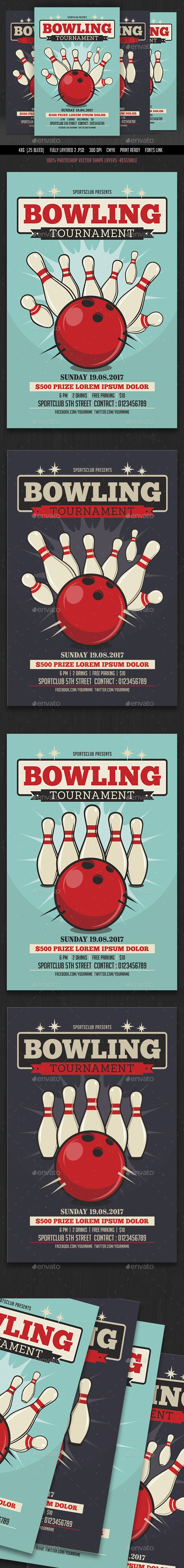 Bowling Tournament Flyer  Flyer Template Template And Vector Shapes