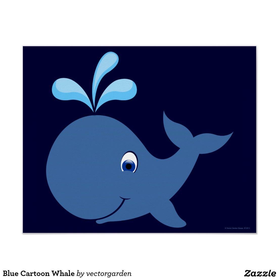 Póster Ballena azul del dibujo animado | Ballena azul, Póster y ...