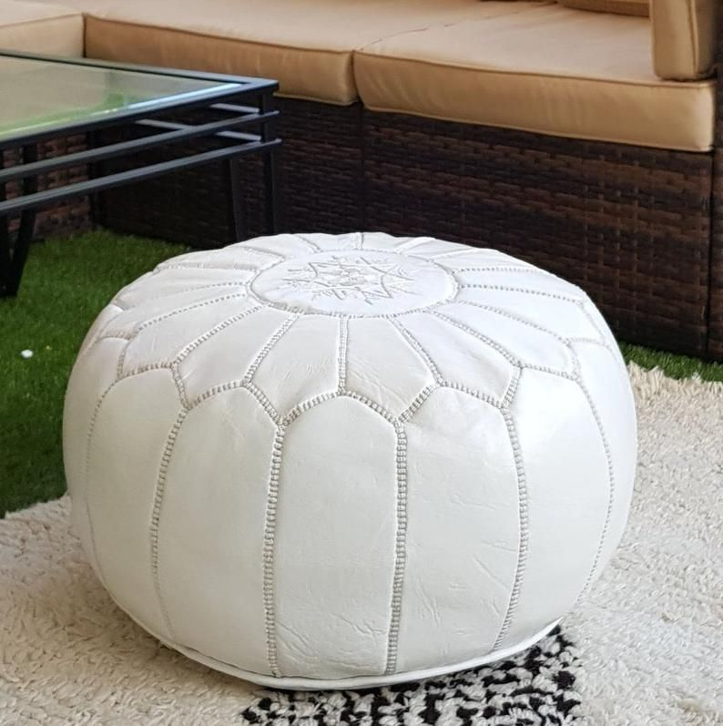 Stuffed Moroccan Leather Pouf Ottoman With Top Embroidery In White