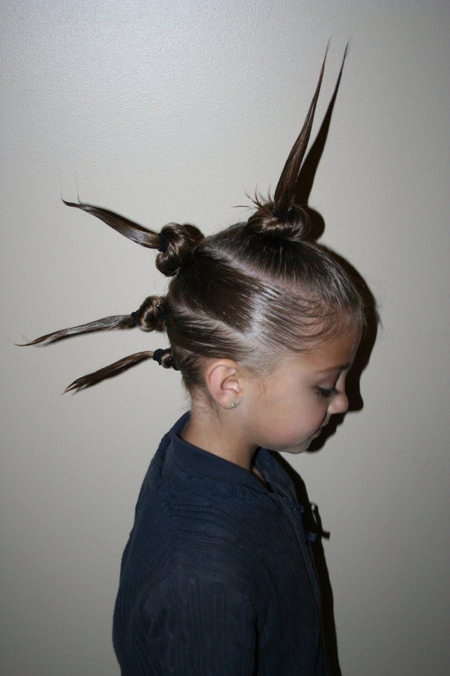 mohawk bun spikes | ideas for wacky hair day | pinterest | wacky