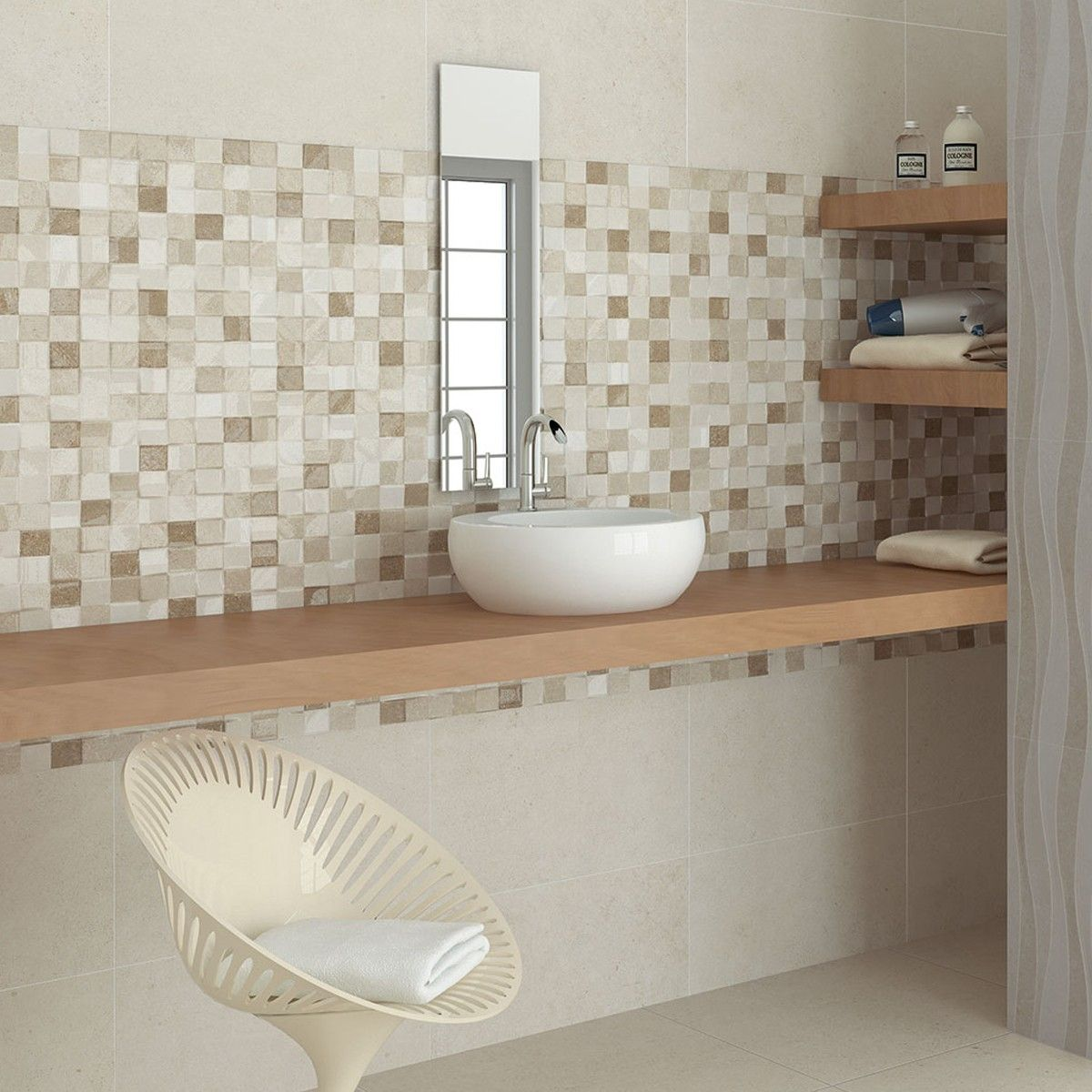 55x33 3 adelaide beige mosaic bathroom wall tiles wall for Bathroom mosaic design