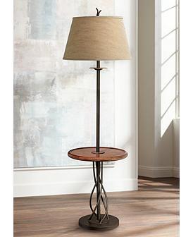 Iron Twist Base Wood Tray Table Floor Lamp Floor Lamp Table Rustic Floor Lamps Floor Lamp