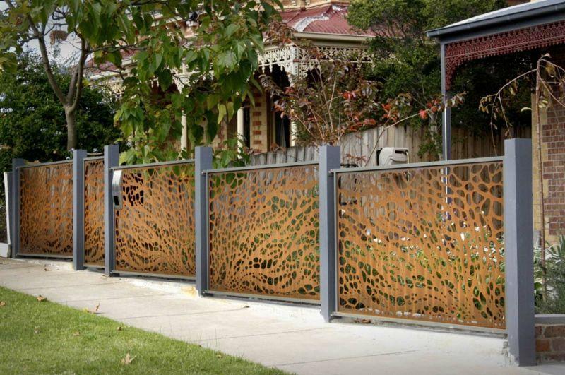 Cortenstahl Garten sichtschutz lochblech cortenstahl garten zaun ideen garten