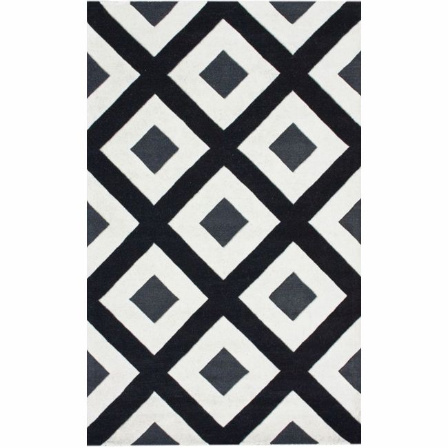 nuLOOM Handmade Black Diamond New Zealand Wool Rug (6' x 9') - Overstock Shopping - Great Deals on Nuloom 5x8 - 6x9 Rugs