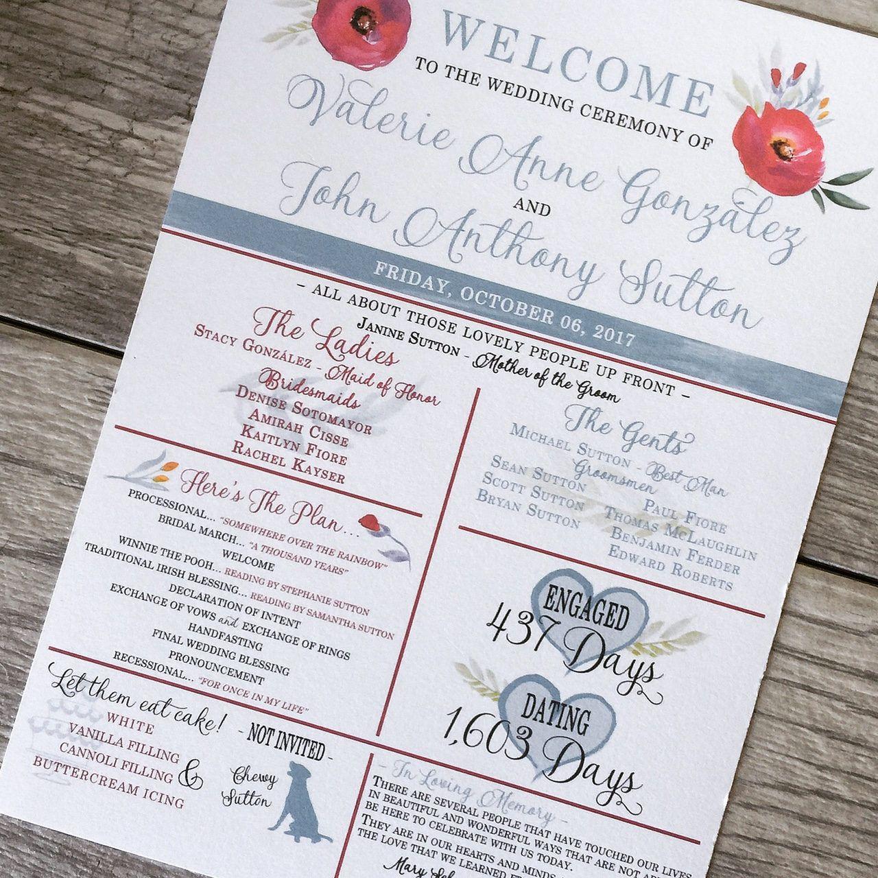 Fun Wedding Program - Print Your Own wedding program   Digital file ...