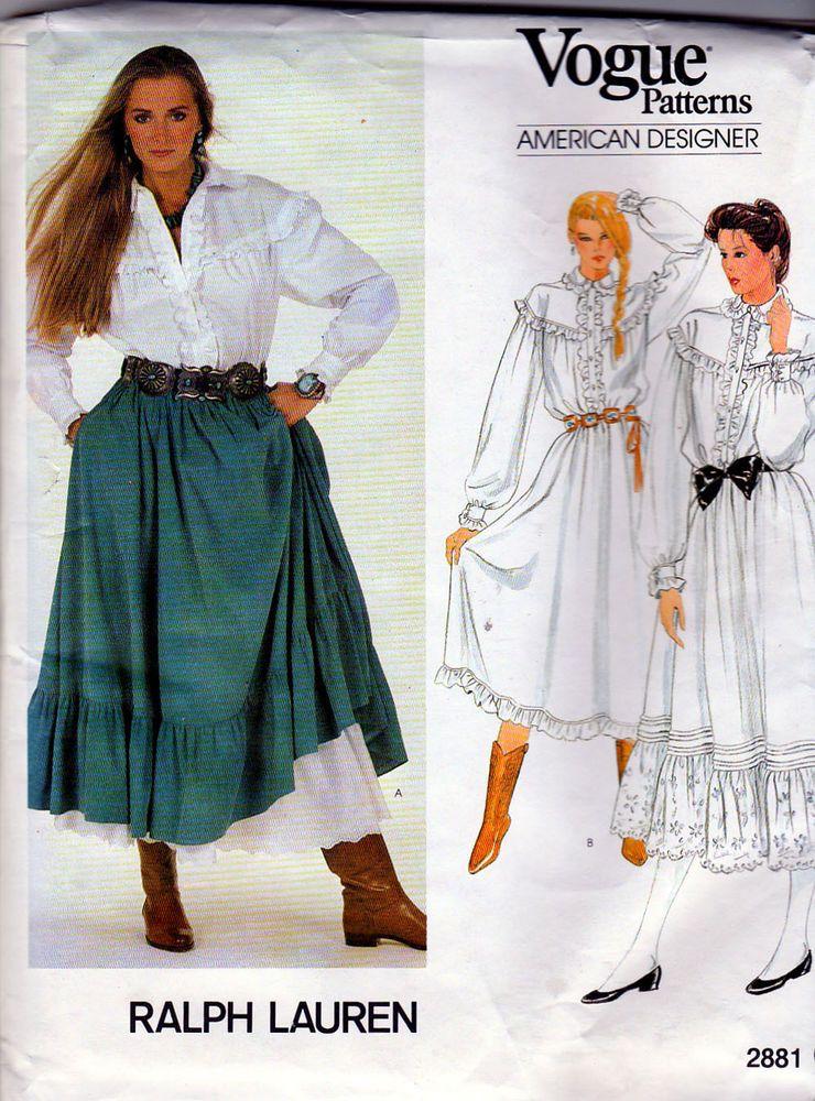 Vogue Sewing Pattern 2881 Ralph Lauren Western Skirt, Blouse, Dress s10