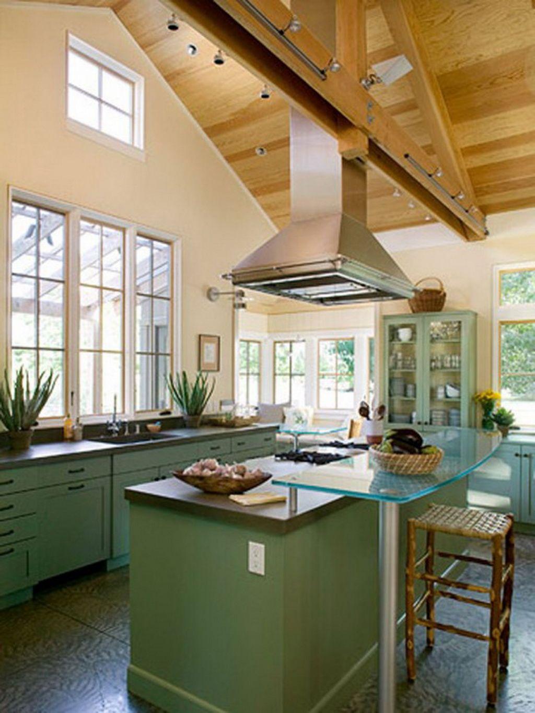 Best Kitchen Gallery: Island Hood Blends With Cross Beam Kitchen Renovation Pinterest of Hood Kitchen Design Vaulting Ceiling on rachelxblog.com