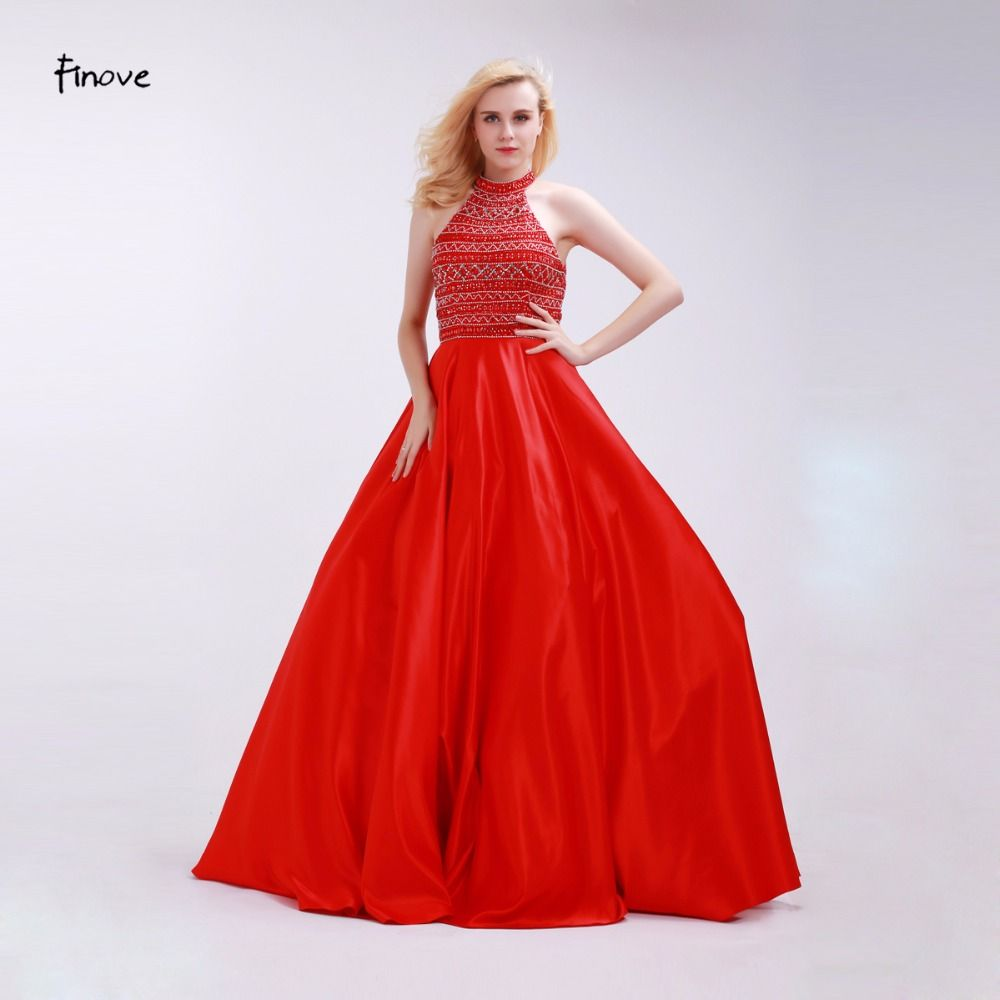 >> Click to Buy << Finove Red Prom Dresses Stunning Beading Halter Backless 2017 New Floor-Length Gowns Sleeveless Satin Party Dresses for Woman #Affiliate