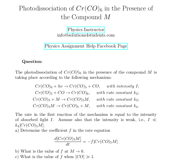 Photodissociation Of Cr Co 6 In The Presence Of The Compound M In 2020 Rate Equation This Or That Questions Computer Simulation