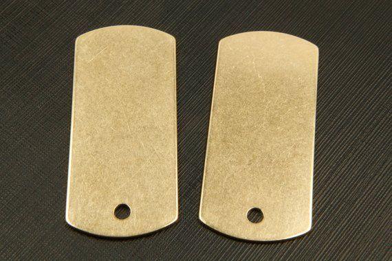 RAW BRASS dog tag bar, RBB-A16, 10 pcs, 1 hole, 45x20mm