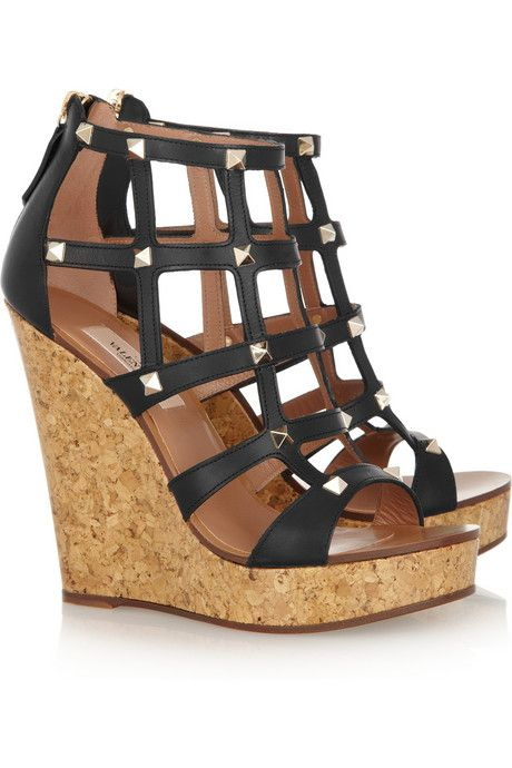 0edeb1ef14f3 Valentino Studded leather wedge cage sandals