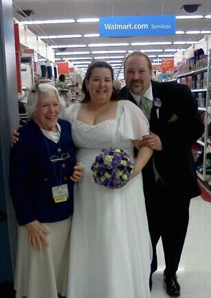 No We Did Not Get Married At Wal Mart We Went To See Our Favorite Greeter Grandma Lou A 90 Yr Old Lady Who Loves Her My Wedding Bridesmaid Dresses Wedding