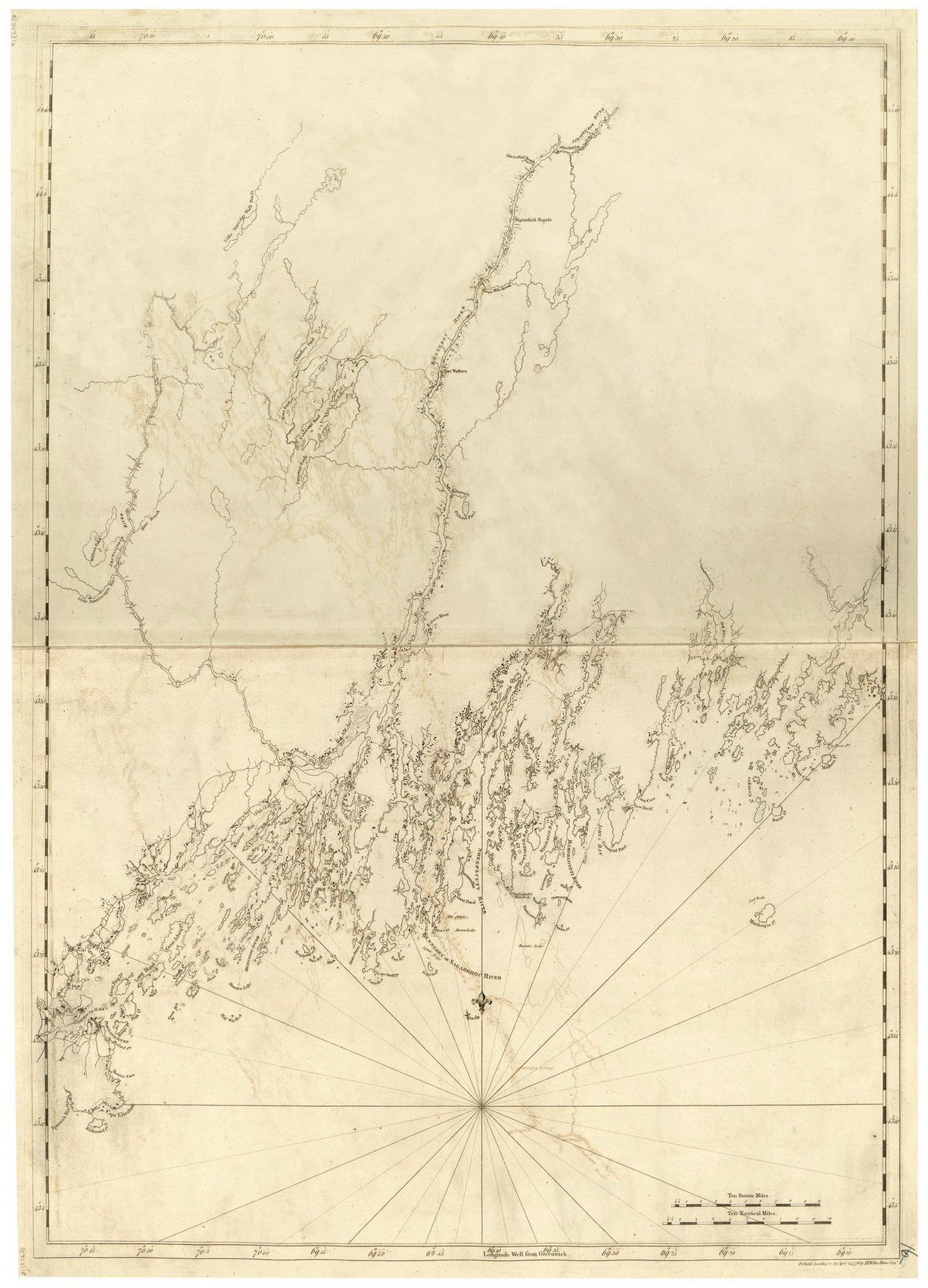 Sagadahoc Casco Bay Maine  Map Revolutionary War Survey By - Maine on map of usa