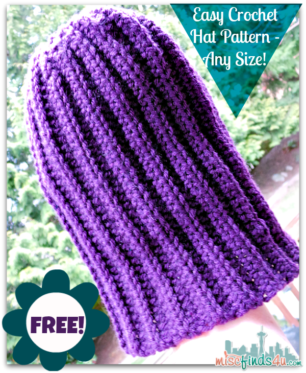 Free Crochet Hat Pattern Slouch Hats Any Size With Video Tutorial