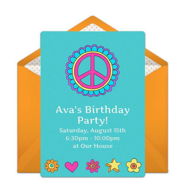 Customizable Free 1960s Groovy Online Invitations Easy To Personalize And Send For A Party Punchbowl