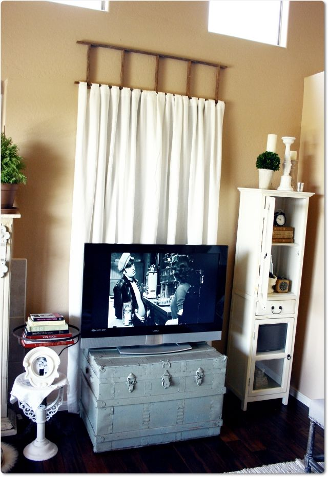 Here We Go Fake Window Treated With Curtains Hung From A
