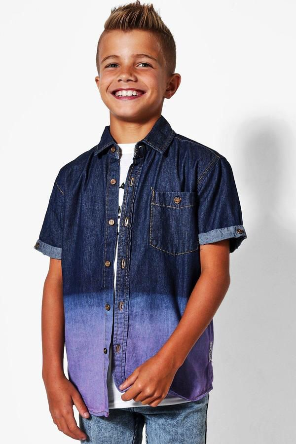 Boys tie dyed denim shirt #boys#fashion#denim #Boohoo#ssafflink