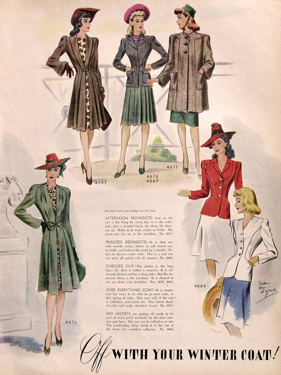1942 Mccalls Winter Coat Patterns Ad Fashion Sketch Drawings