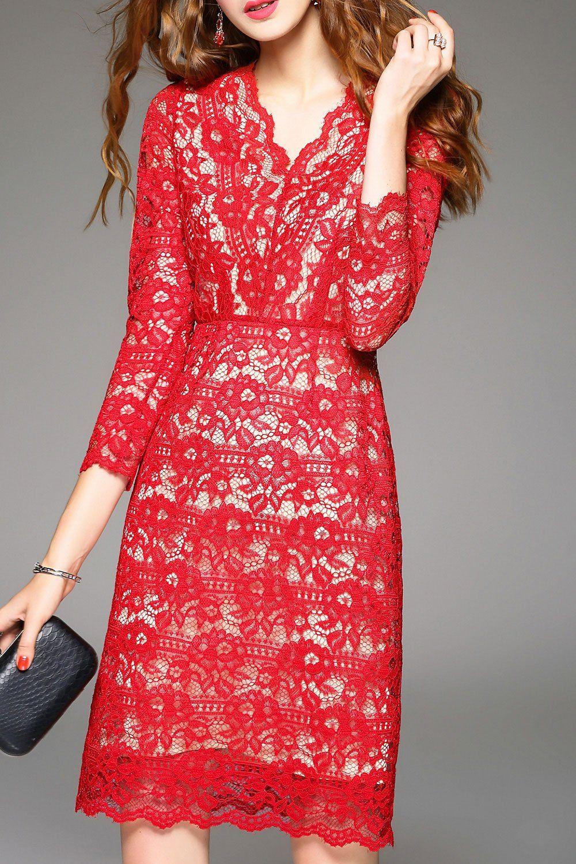 Sweetsmile rojo con cuello en V vestido de encaje | Vestidos hasta la rodilla en DEZZAL