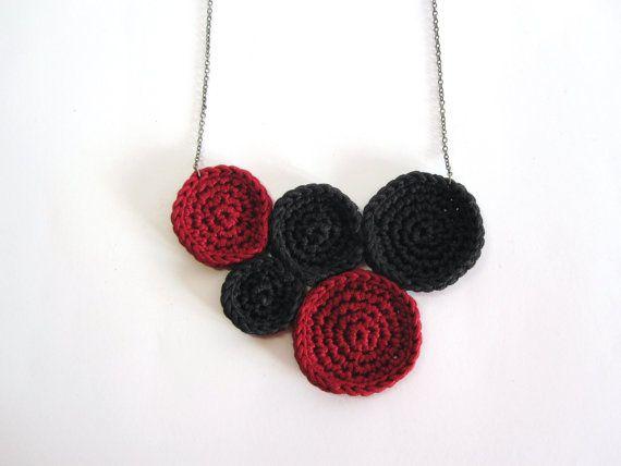 Handmade Crochet Red Necklace