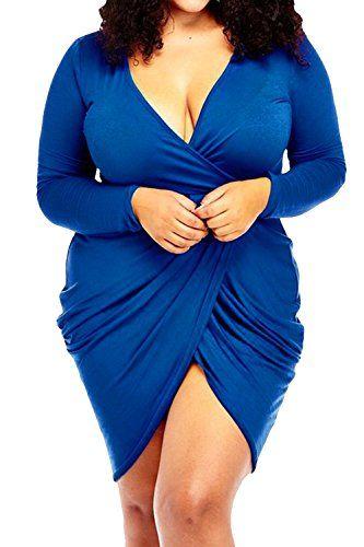 57b279ae647d0 POSESHE Womens Plus Size Deep V Neck Bodycon Wrap Dress w...