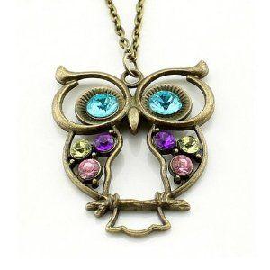 Owl Women Fashion Bronze Vintage Style Long Chain Necklace Pendant Jewelry