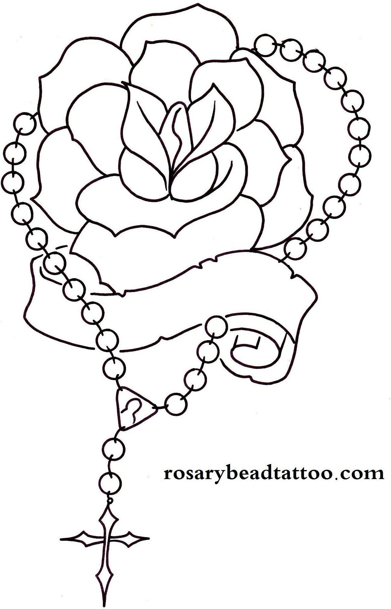 Line Drawing Name Designs : Rosary drawings rose tattoo banner