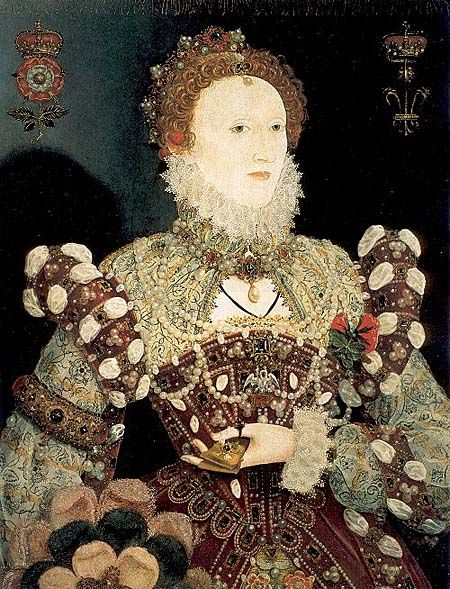 """Portrait of Elizabeth I Queen of England, also known as the """"Pelican Portrait,"""" ca. 1575 by Nicholas Hillard (1547-1619). The Pelican (on her brooch) was a christian symbol of Christ's sacrifice."""