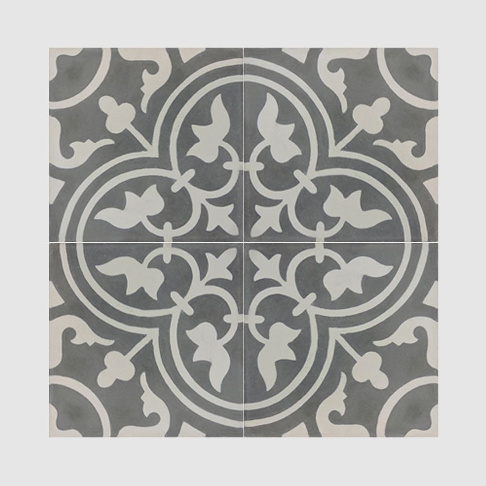 Casa Grey And White Handmade Cement Moroccan Tile 8 Inch X 8 Inch