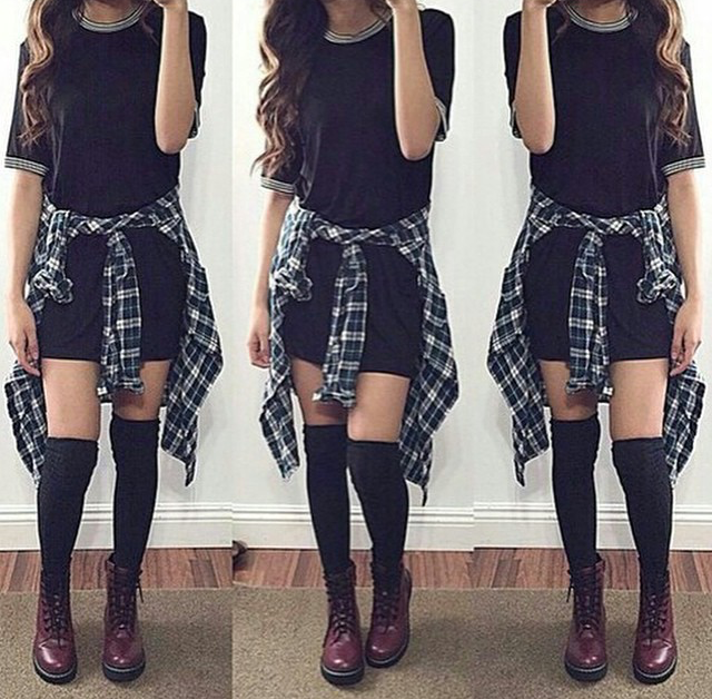 926a5e69534 long black tshirt dress (or loose over sized black tshirt with black high  waisted shorts)
