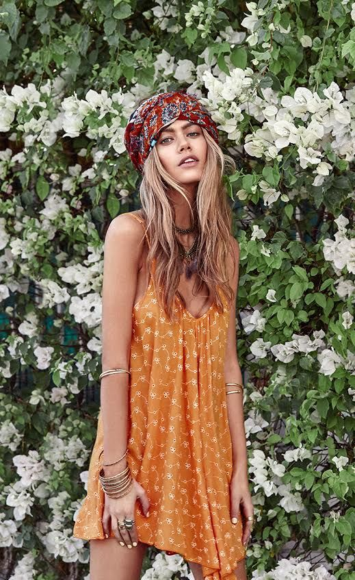 Boho perfection, bohemian, head wrap, flowy dress, bangles, coachella fashion