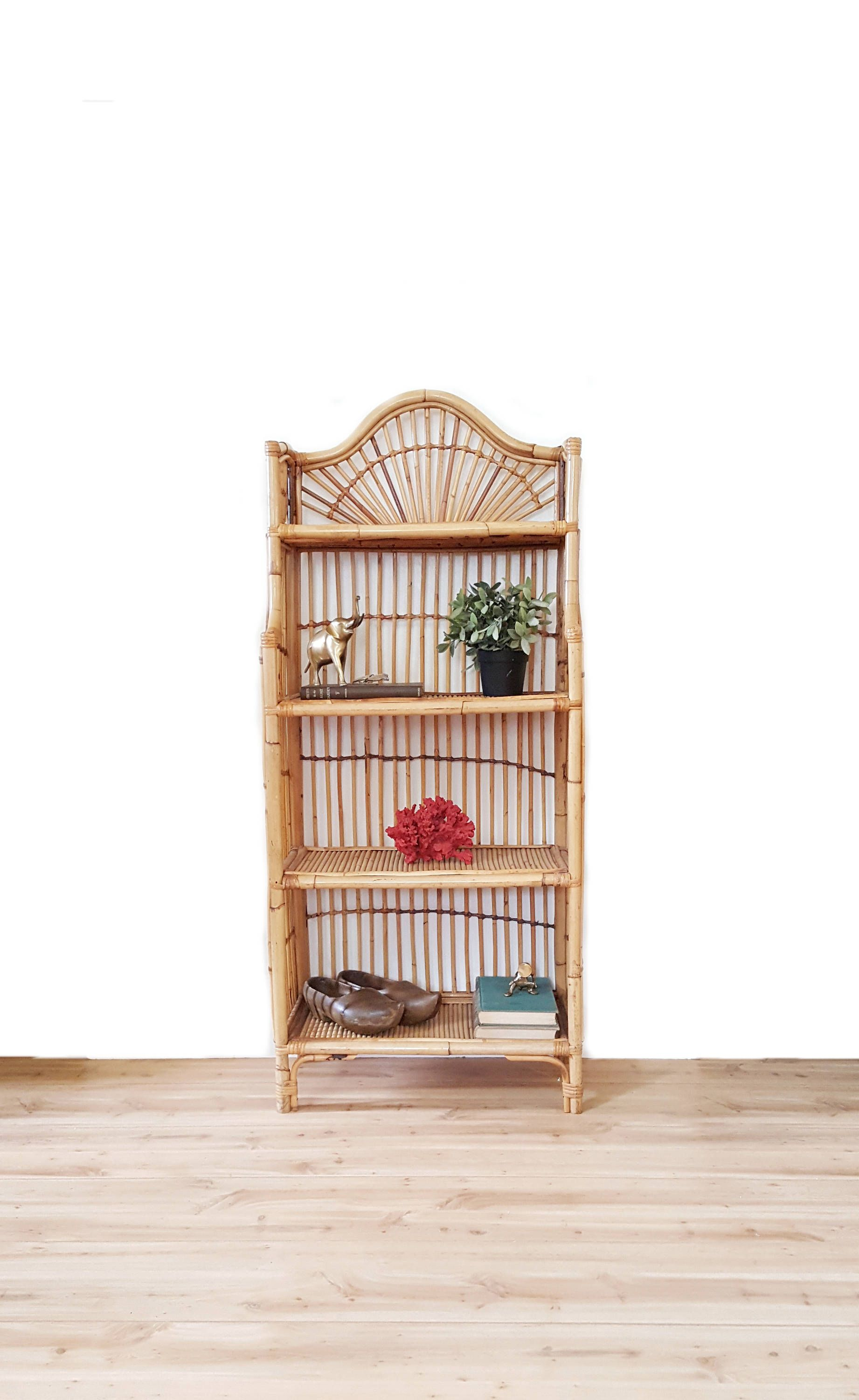 Bamboo Fan Etagere Rattan Arch Bookshelf Bohemian Wicker Bookcase Mid Century Shelves