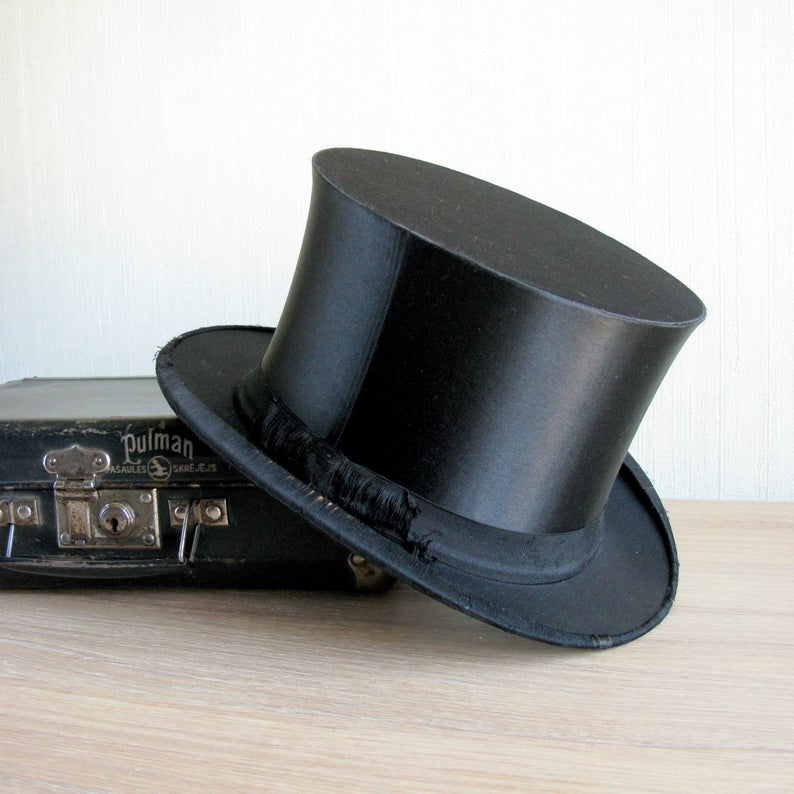 Antique Silk Top Hat Drgm German Original Collapsible Top Hat Black Cylinder Gothic Steampunk Shabby Costume Unisex M 30s In 2020 Top Hat Fashion Accessories Jewelry Silk Top