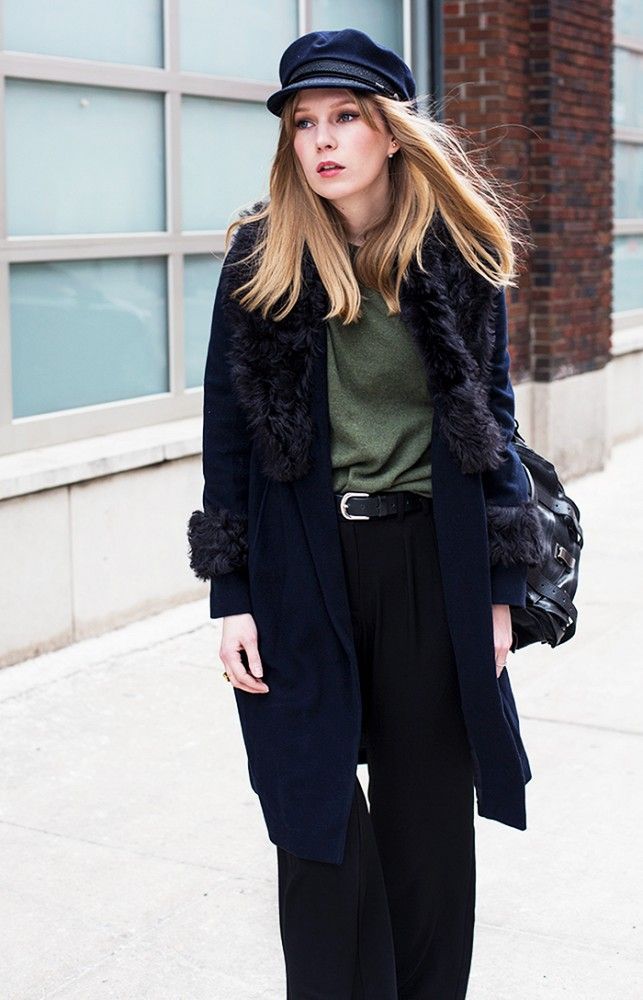 Carolina Engman of Fashion Squad in a mod cap and fur coat // NYFW Street Style