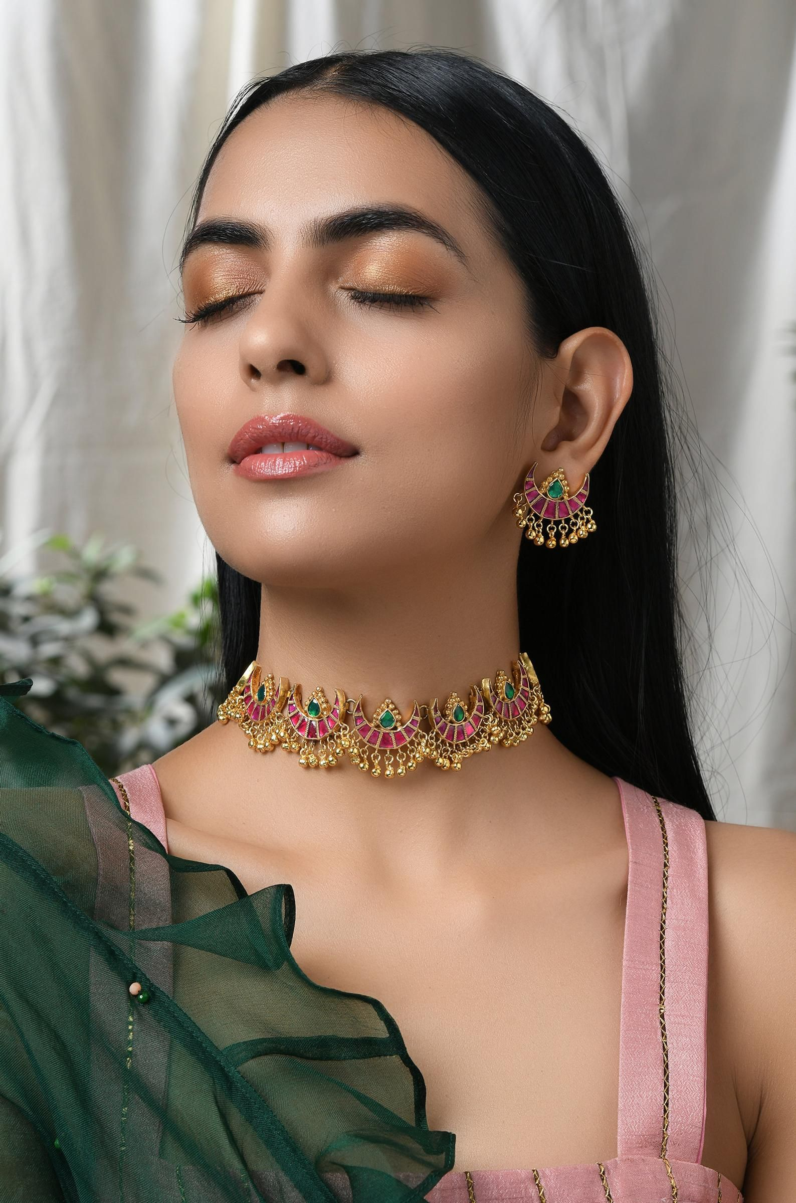 Ruby Red and Emerald Green Delicate Gold Plated Ku