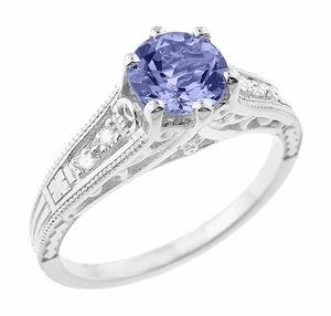 Art Deco Filigree Tanzanite Engagement Ring In Platinum With