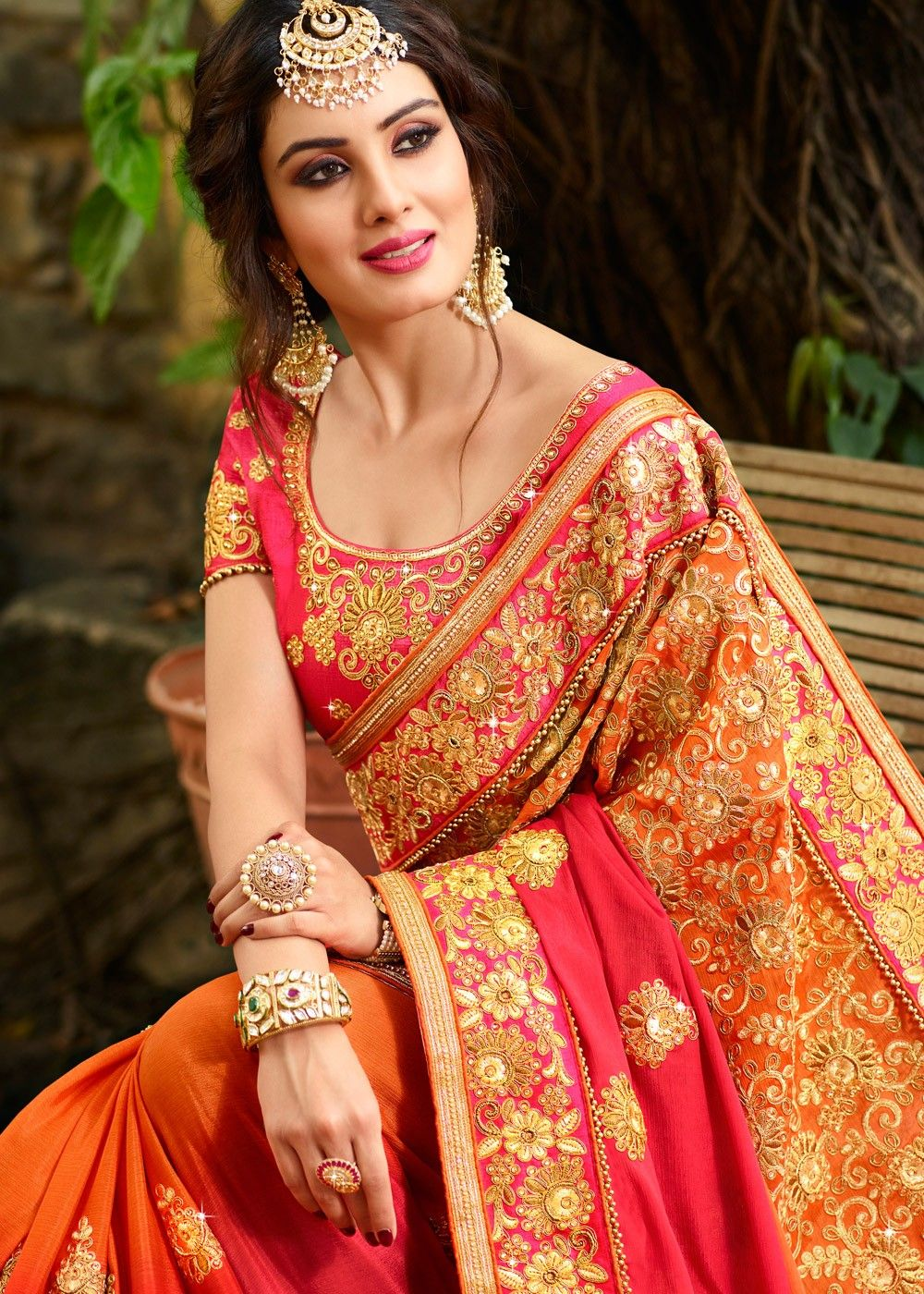 336912ece9 Orange Crape Shaded Saree with Heavy Blouse in 2019 | Arabic woman ...