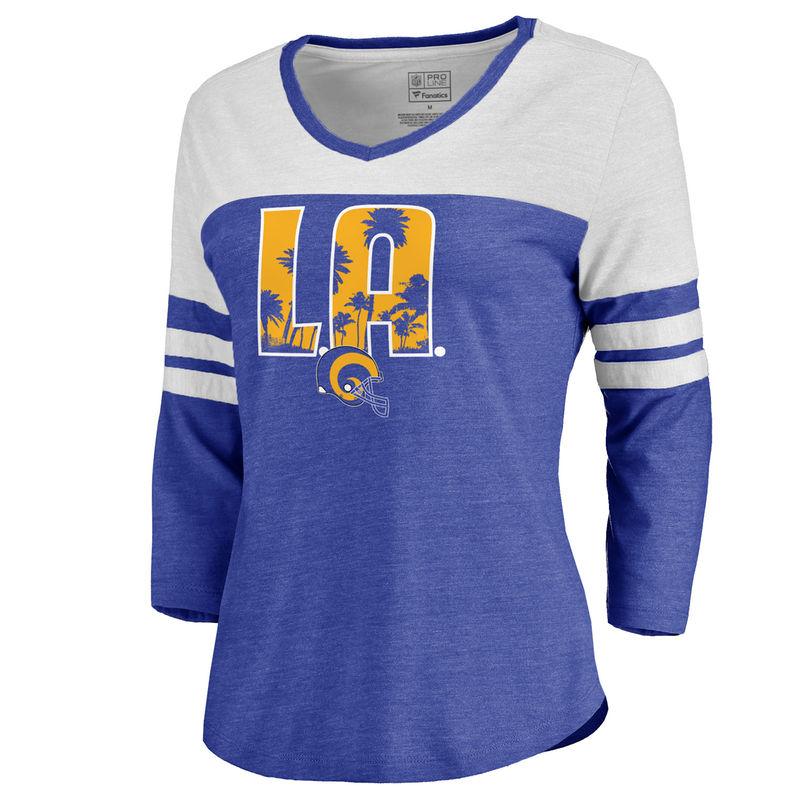 cb5d4bce0 Women s NFL Pro Line by Fanatics Branded Royal Los Angeles Rams Hometown  Collection Color Block 3 4 Sleeve Tri-Blend T-Shirt