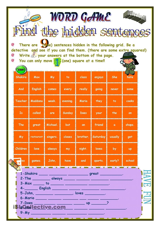 Game-Hidden sentences | Classroom ideas 2 | Pinterest