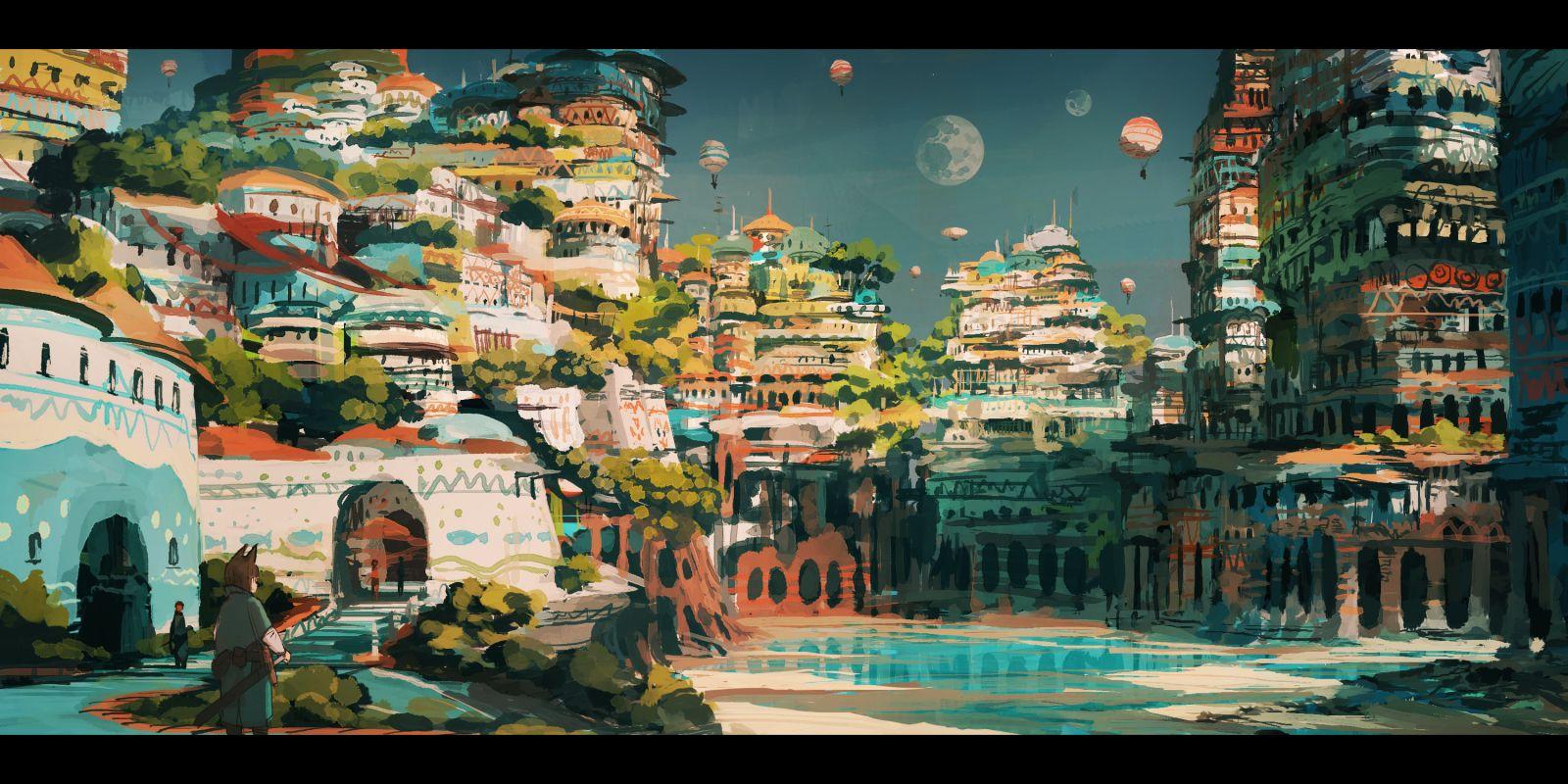 水の街」/「ジャン・ポポ」のイラスト [pixiv] | cyberpunk/fantasy