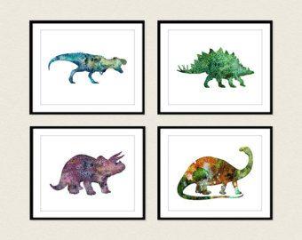 Dinosaur Art Print, Set of 4 Prints, Dinosaur Poster, Dinosaur Wall Decor, Dinosaur Wall Art, Watercolor Dinosaur