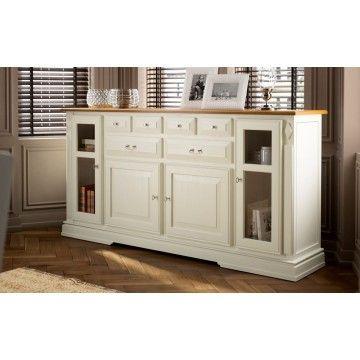 Aparador maison color lino con encimera en tabaco - Muebles bajos para comedor ...