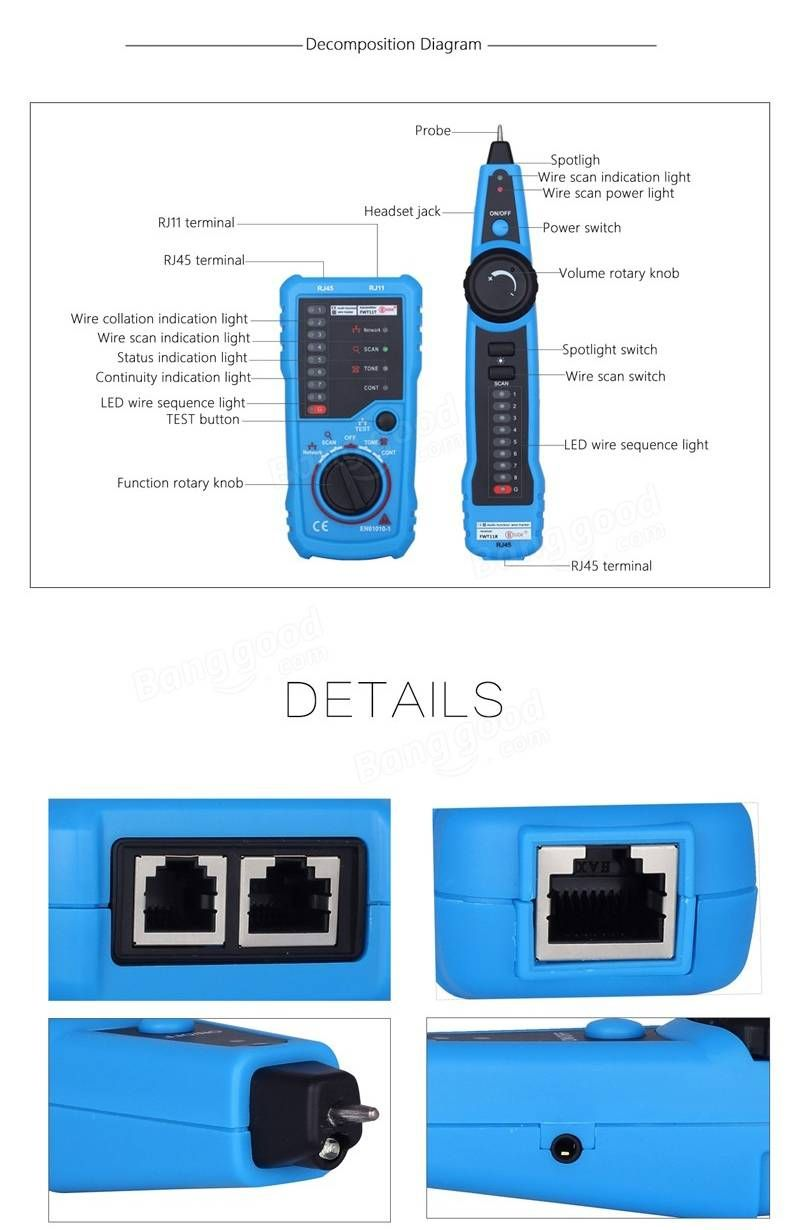 Bside Fwt11 Rj11 Rj45 Wire Tracker Tracer Telephone Ethernet Lan Adapter Wiring Diagram Network Cable Continuity Tester Detector Sale