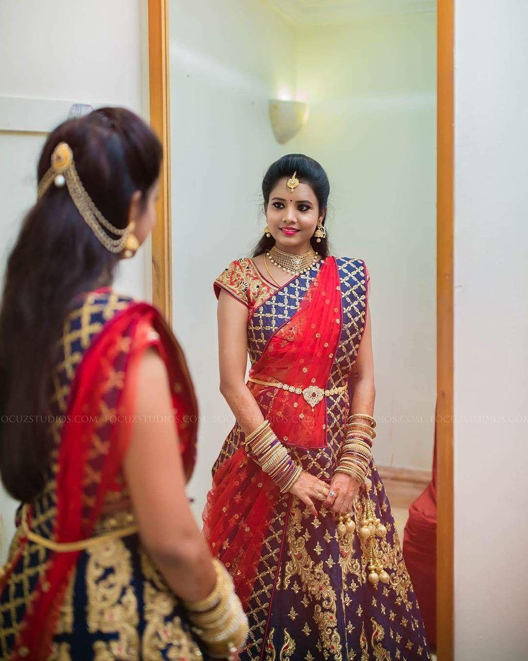 Hairstyle For Bride On Saree: Designer Lehenga Wearing Style - Mattal - Pose