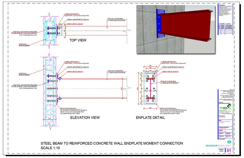 Steel Beam Reinforced Concrete Wall Endplate Moment