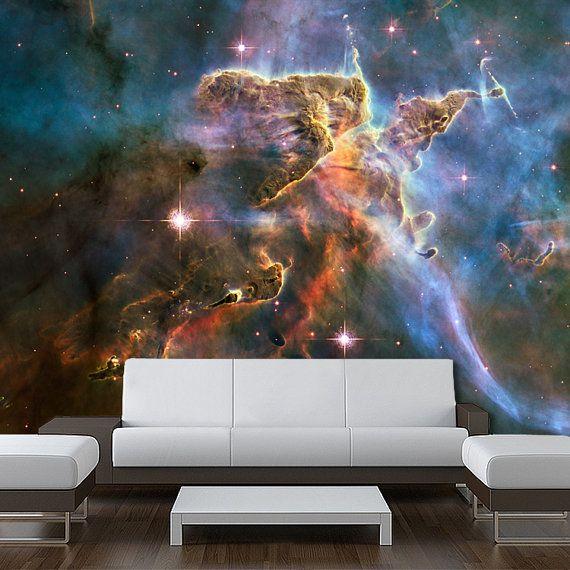 Wall Ceiling Mural Space Blue Stars Galaxy Night Sky By Wallnit Ceiling Murals Galaxy Decor Mural