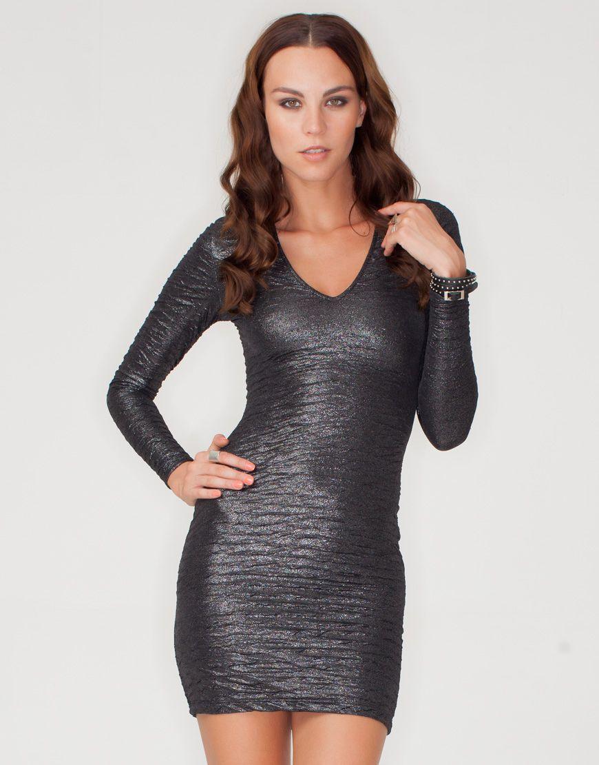 e46cc1b7d9 Motel Clarabelle Textured Bodycon Dress in Pewter Crush at Motel Rocks